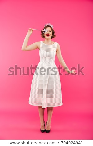 Stock photo: lovely fairy in crown with magic wand