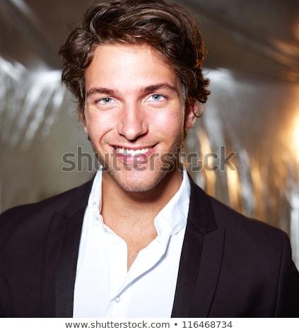 Jólöltözött fiatalember pózol arc férfi üzletember Stock fotó © photography33