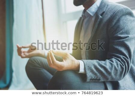 ビジネスマン · 瞑想 · 階 · 画像 · 壁 · チャート - ストックフォト © ivonnewierink