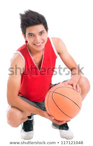 Man hurken mand bal portret donkere Stockfoto © photography33