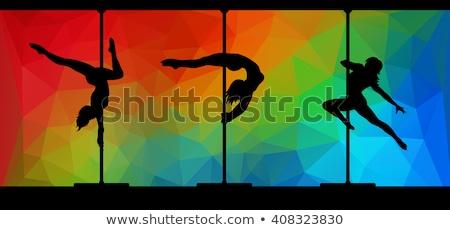 jovem · esbelto · pole · dance · mulher · escuro - foto stock © petrmalyshev