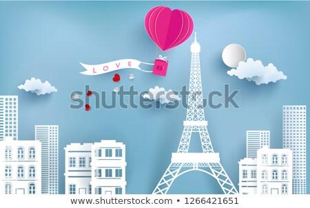 Set valentine's day red icons, romantic travel symbols Stock photo © Ecelop