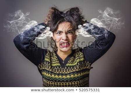 Wściekły kobieta młoda kobieta biały włosy młodych Zdjęcia stock © kalozzolak