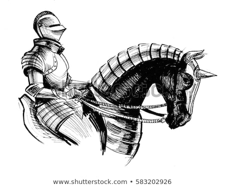 Drawing knight on a horse Stock photo © Ustofre9