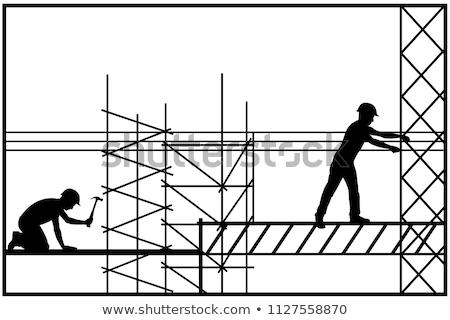 Homem martelo silhuetas vetor formato trabalhar Foto stock © Slobelix