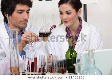 Man vrouw testen wijn laboratorium computer Stockfoto © photography33