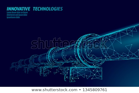 Stockfoto: Pijpleiding · middeleeuwse · oude · veld · blauwe · hemel · olie