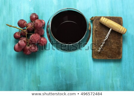 old book and red wine with grapes on table stock photo © compuinfoto