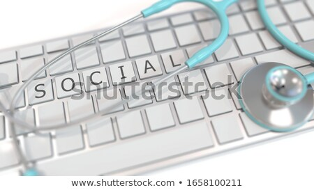Fehér billentyűzet társasági gyógyszer gomb szavak Stock fotó © tashatuvango
