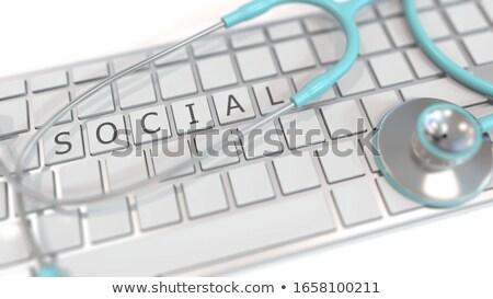 Witte toetsenbord sociale geneeskunde knop woorden Stockfoto © tashatuvango