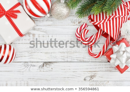 Christmas Gift Boxes, Decoration Balls and Tree Branch toning in Stock photo © tetkoren