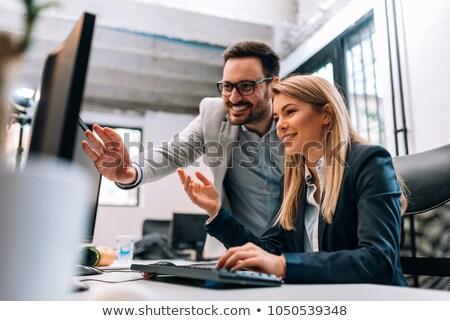 Iş arkadaşları iki ofis beyaz tahta Stok fotoğraf © jeliva