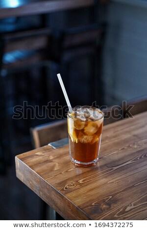 Cola szkła tabeli lata lodu pić Zdjęcia stock © Romas_ph