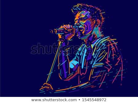 Karaoke cantante cartoon donna schermo microfono Foto d'archivio © blamb