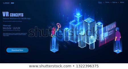 Mérnök dolgozik holografikus kép város média Stock fotó © HASLOO
