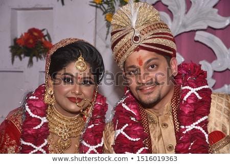 Primer plano retrato matrimonio Pareja jóvenes sonrisa Foto stock © konradbak