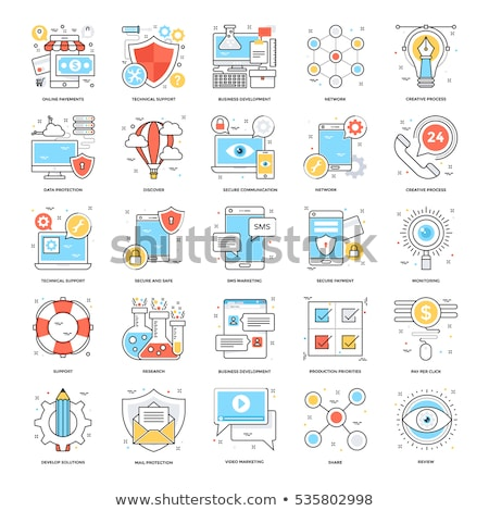 Cloud Colored Line Icons Stock photo © AnatolyM