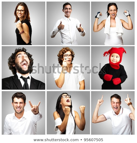 Stock photo: Woman in sport clothes gesturing rock