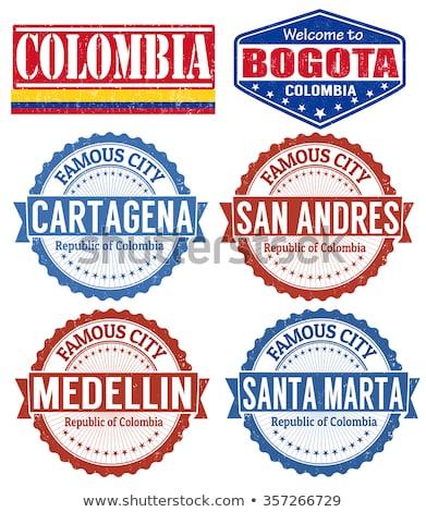 Gomb szimbólum Colombia zászló térkép fehér Stock fotó © mayboro1964