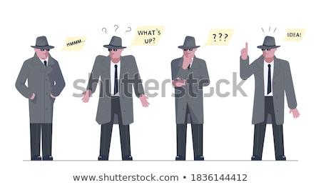 Cartoon homme chapeau bulle main Photo stock © lineartestpilot