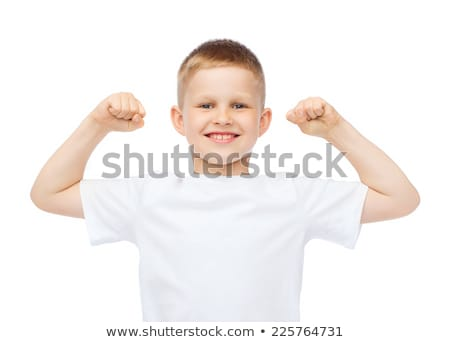 little boy in blank white t-shirt showing muscles Stock photo © dolgachov