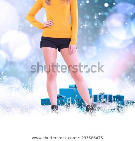 Verlagen half vrouw laarzen shorts witte Stockfoto © wavebreak_media