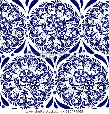 Patroon aquarel Blauw stijl witte Stockfoto © Mayamy