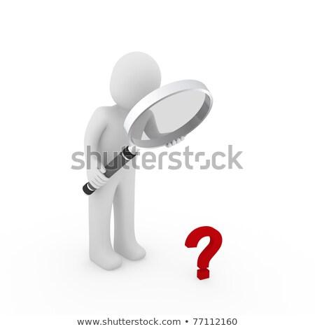 3d man interrogation loupe blanche côté angle Photo stock © nithin_abraham