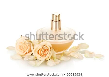 women's perfume in beautiful bottle and pink rose flower isolate Stock photo © tetkoren
