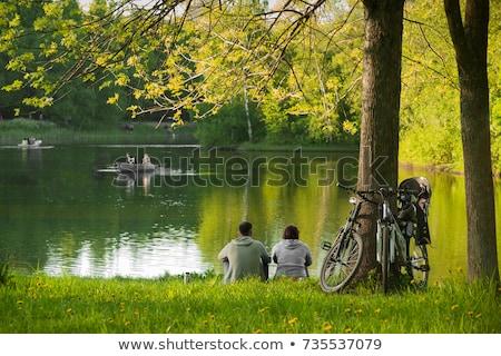 çift · bisiklet · mutlu · deniz - stok fotoğraf © deandrobot