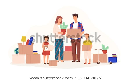 Family Carrying a House, illustration Stock photo © Morphart