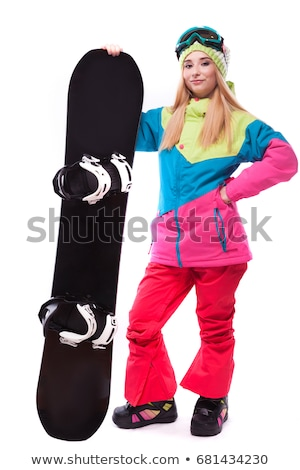 Stock photo: Cute woman holding snowboard on ski slope