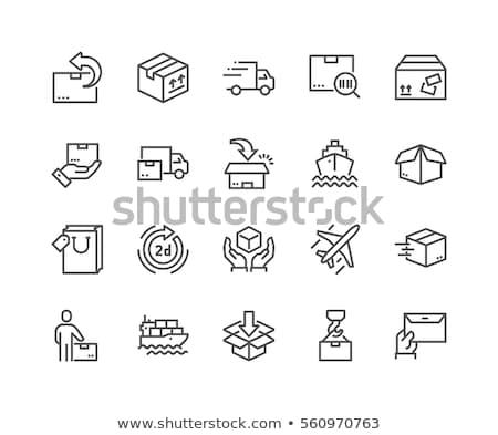 vracht · containerschip · lijn · icon · hoeken · web - stockfoto © rastudio