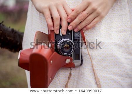 赤 女性 春の花 肖像 美しい ストックフォト © dariazu