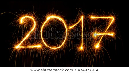 2017 with sparklers on black background Stock photo © vlad_star