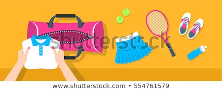 woman puts tennis stuff into sport bag vector banner stock photo © vectorikart