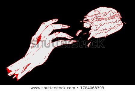 hamburger in zombie hand flat vector illustration stock photo © robuart