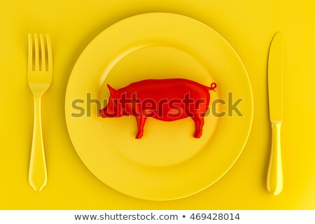 red pig on a plate vegetarian concept 3d illustration stock photo © kirill_m