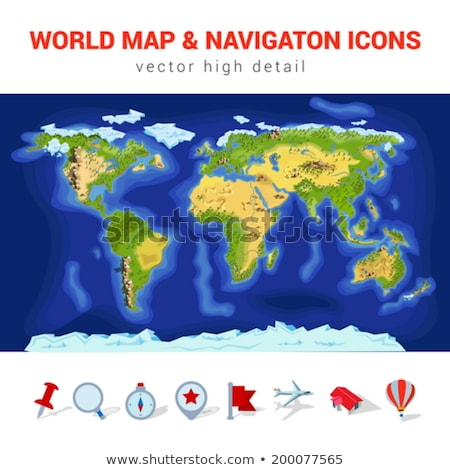 Stock photo: High detailed vector map of World with navigation pins.