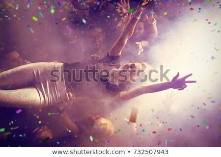 zene · szurkolók · mosoly · boldog · laptop · nevetés - stock fotó © wavebreak_media