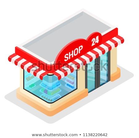 изометрический магазин здании онлайн продуктовых торговых Сток-фото © Genestro