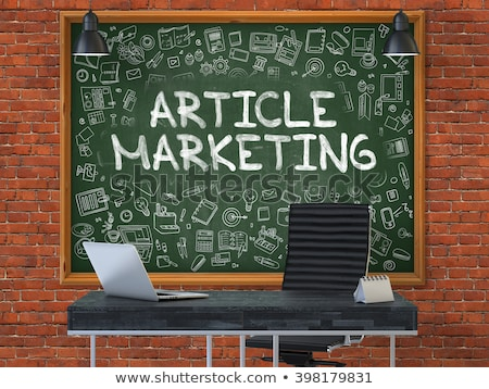 article marketing concept doodle icons on chalkboard stock photo © tashatuvango