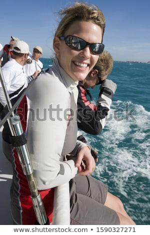 男 座って レール ボート セーリング 休暇 ストックフォト © IS2