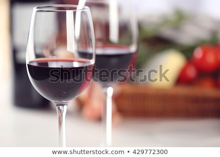 wine glass basket with cheese and salami stock photo © m-studio