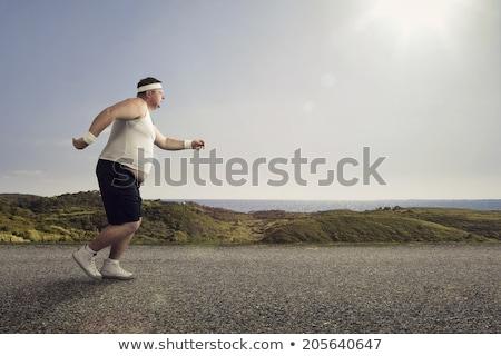 Hombre grasa ejecutando cansado fitness ilustración Foto stock © lenm