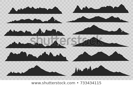 vector set of black and white mountain silhouette Stock photo © freesoulproduction