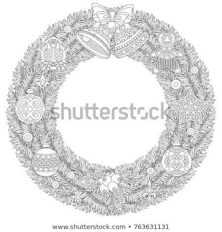 vidám · karácsony · üdvözlet · terv · akasztás · piros - stock fotó © lady-luck