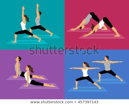 yoga · femme · vecteur · fille · entraînement - photo stock © izakowski