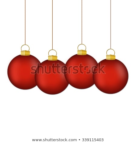 Merry Christmas Illustration with Gold Glass Ball, Star and Typography Elements on Vintage Wood Back Stock photo © articular