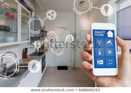 akıllı · ev · Internet · işler · hat · simgeler - stok fotoğraf © -talex-